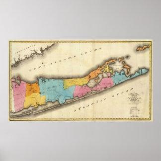 Mapa del vintage de Suffolk Nueva York (1829) Posters