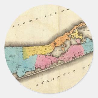 Mapa del vintage de Suffolk Nueva York (1829) Pegatinas Redondas