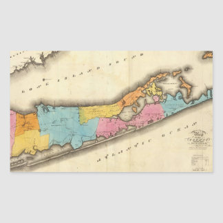 Mapa del vintage de Suffolk Nueva York (1829) Rectangular Pegatina