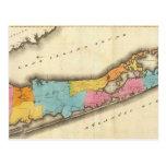 Mapa del vintage de Suffolk Nueva York (1829) Tarjetas Postales