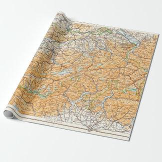Mapa del vintage de Suiza Papel De Regalo