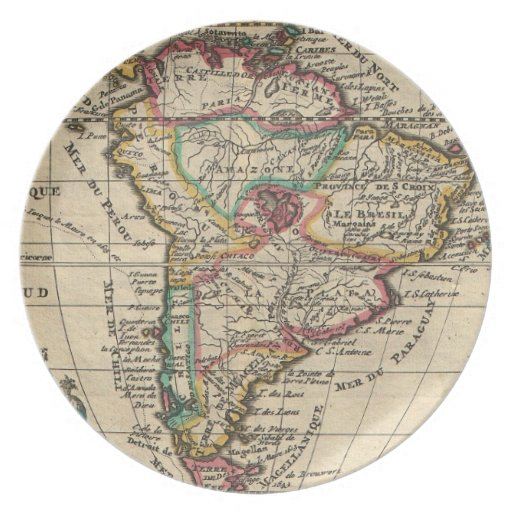 Mapa del vintage de Suramérica (1747) Plato Para Fiesta