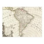 Mapa del vintage de Suramérica (1762) Tarjeta Postal
