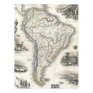 Mapa del vintage de Suramérica (1850) Postal