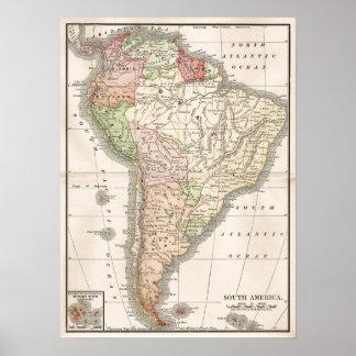 Mapa del vintage de Suramérica Póster