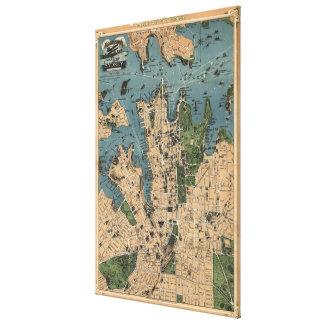 Mapa del vintage de Sydney Australia (1922) Impresion De Lienzo