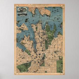 Mapa del vintage de Sydney Australia (1922) Póster