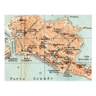 Mapa del vintage de Syracuse Italia (1905) Tarjeta Postal