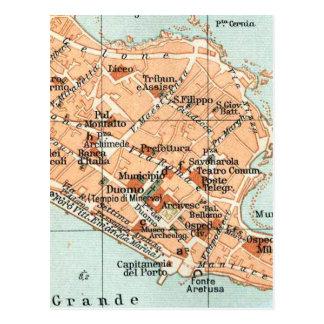 Mapa del vintage de Syracuse Italia (1905) Tarjetas Postales