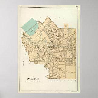 Mapa del vintage de Syracuse Nueva York (1895) Póster