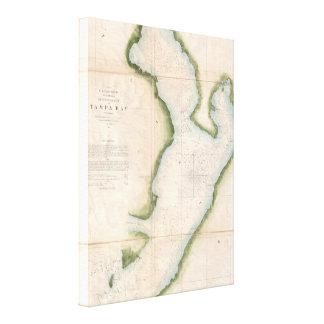 Mapa del vintage de Tampa Bay costera (1855) Impresion De Lienzo