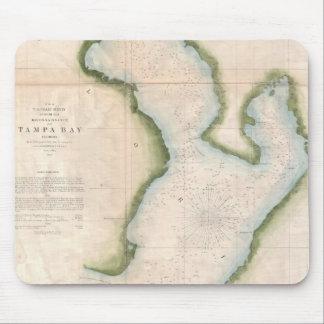 Mapa del vintage de Tampa Bay costera (1855) Mouse Pads