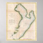 Mapa del vintage de Tampa Bay costera (1855) Impresiones