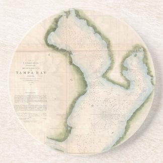 Mapa del vintage de Tampa Bay costera (1855) Posavasos Cerveza