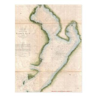 Mapa del vintage de Tampa Bay costera (1855) Postales