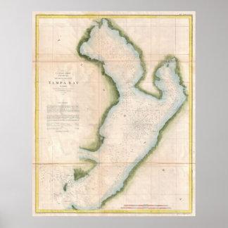Mapa del vintage de Tampa Bay costera (1855) Póster