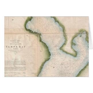 Mapa del vintage de Tampa Bay costera (1855) Tarjeta De Felicitación
