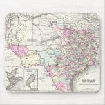 Mapa del vintage de Tejas (1855) Alfombrillas De Ratones