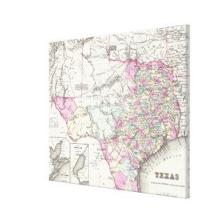 Mapa del vintage de Tejas (1855) Impresión En Lona