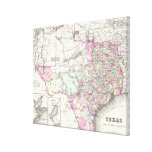 Mapa del vintage de Tejas (1855) Impresiones En Lona