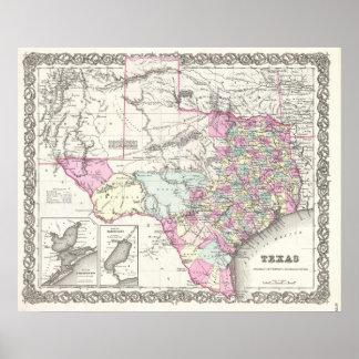 Mapa del vintage de Tejas (1855) Póster