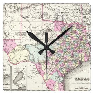 Mapa del vintage de Tejas (1855) Reloj