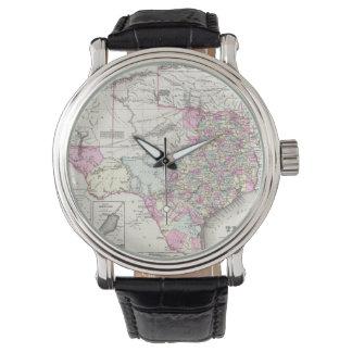 Mapa del vintage de Tejas (1855) Relojes De Mano