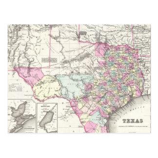 Mapa del vintage de Tejas (1855) Postal