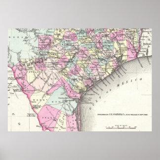 Mapa del vintage de Tejas costero (1855) Póster