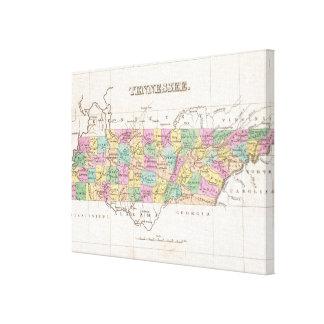 Mapa del vintage de Tennessee (1827) Lona Envuelta Para Galerias