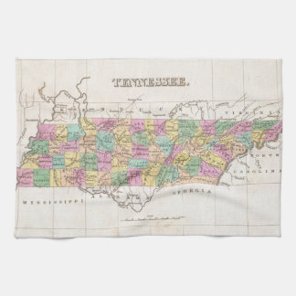 Mapa del vintage de Tennessee (1827) Toallas