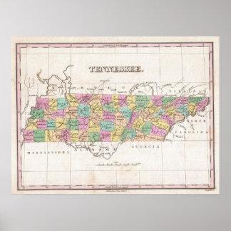 Mapa del vintage de Tennessee (1827) Póster