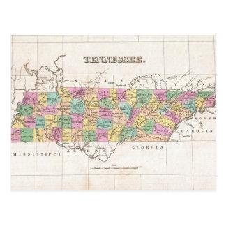 Mapa del vintage de Tennessee (1827) Postales