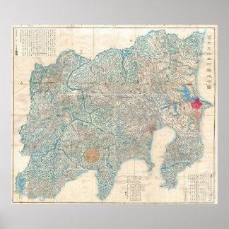 Mapa del vintage de Tokio y del monte Fuji Japón Póster