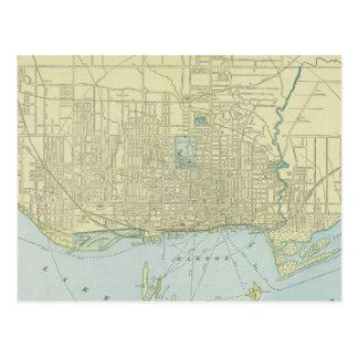Mapa del vintage de Toronto (1901) Postales