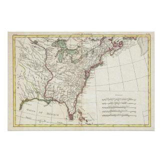 Mapa del vintage de trece colonias 1776 poster