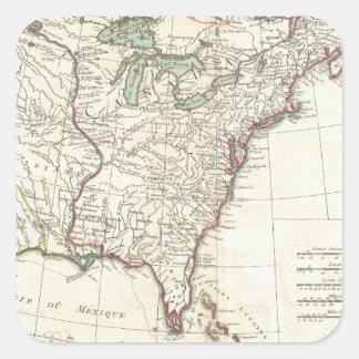Mapa del vintage de trece colonias (1776) pegatina cuadrada