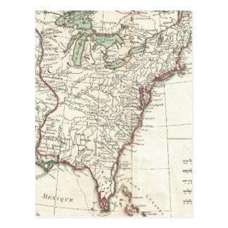 Mapa del vintage de trece colonias 1776 postal