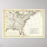 Mapa del vintage de trece colonias (1776) póster