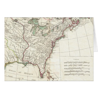 Mapa del vintage de trece colonias (1776) tarjeta de felicitación