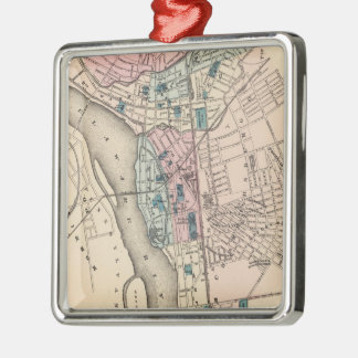 Mapa del vintage de Trenton NJ (1872) Adorno Cuadrado Plateado