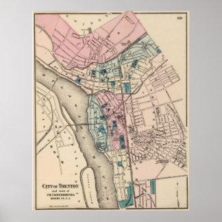 Mapa del vintage de Trenton NJ (1872) Póster
