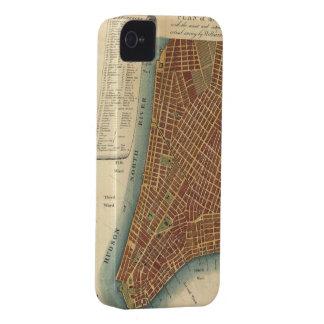 Mapa del vintage de un New York City más bajo (180 iPhone 4 Case-Mate Carcasas