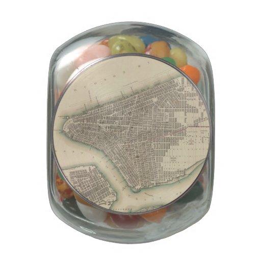 Mapa del vintage de un New York City más bajo (184 Jarras De Cristal