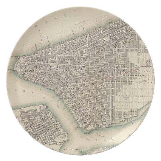 Mapa del vintage de un New York City más bajo (184 Platos Para Fiestas