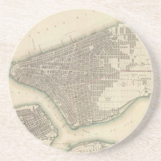 Mapa del vintage de un New York City más bajo (184 Posavasos Manualidades