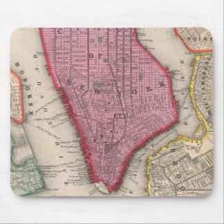 Mapa del vintage de un New York City más bajo (186 Alfombrillas De Ratones