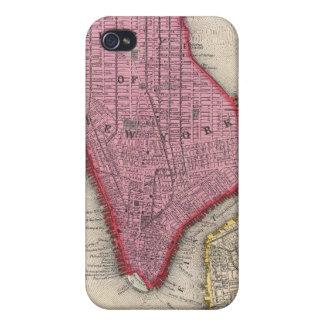 Mapa del vintage de un New York City más bajo (186 iPhone 4 Protector