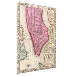 Mapa del vintage de un New York City más bajo (186 Impresion En Lona
