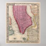 Mapa del vintage de un New York City más bajo (186 Posters